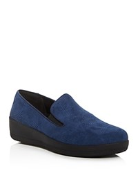 Fitflop Superskate Snake Embossed Loafers Navy
