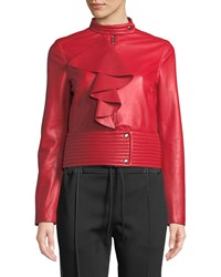 Valentino Agnello Leather Jacket W Large Ruffle Red