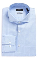 Boss Men's Big And Tall Jason Slim Fit Houndstooth Dress Shirt Light Pastel Blue