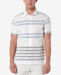 Perry Ellis Men's Asynchronous Striped Short Sleeve Shirt Bright White