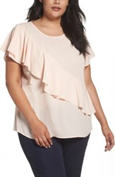 Sejour Plus Size Women's Woven Ruffle Tee Pink Wood