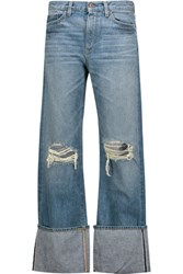 Simon Miller Arapo Mid Rise Distressed Straight Leg Jeans Light Denim
