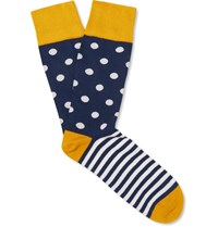 Corgi Patterned Cotton Blend Socks Navy