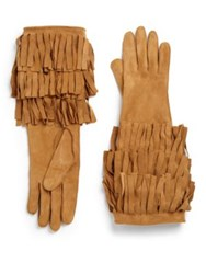Burberry Maureen Suede Fringed Long Gloves Bright Toffee