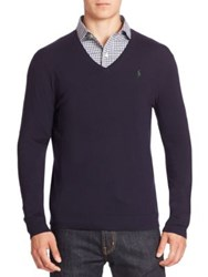 Polo Ralph Lauren Slim Fit V Neck Sweater Navy