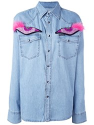 Forte Couture Glitter Eye Applique Denim Shirt Blue