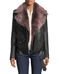 7 For All Mankind Leather Moto Jacket With Removable Shearling Fur Black