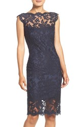 Tadashi Shoji Women's Embroidered Cotton Blend Sheath Dress Navy