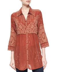 Johnny Was Austin 3 4 Sleeve Empire Waist Embroidered Blouse Marsala