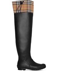 Burberry 20Mm Freddy Rubber And Check Boots Black