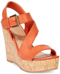 Rampage Helman Platform Wedge Sandals Women's Shoes Dusty Orange
