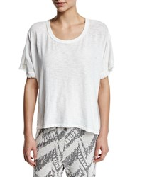 Skin Cherry Fringed Sleeve Tee Crane White