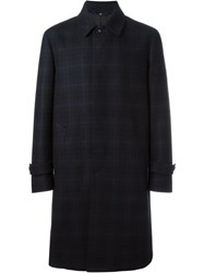 Hevo Checked Mid Length Coat Blue