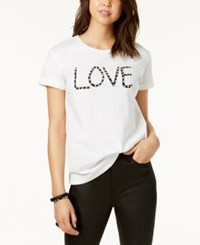 Almost Famous Juniors' Embellished Love Graphic T Shirt White
