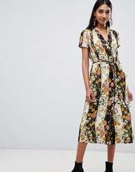 Mango Button Down Midi Dress In Mixed Florals Multi