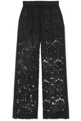 Valentino Satin Trimmed Corded Lace Wide Leg Pants Black