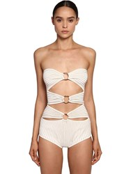 Elie Saab Gold Rings Knit Bodysuit White