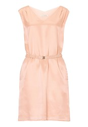 Vera Mont Belted V Neck Shift Dress Pink