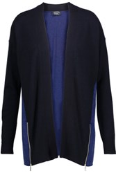 Magaschoni Two Tone Cashmere Cardigan Midnight Blue
