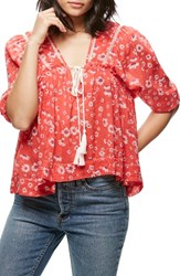 Free People Women's Daisy Cotton Blouse Red