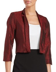 Nipon Boutique Textured Open Front Blazer Fire Red