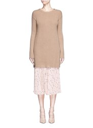 Valentino Bow Tie Open Back Long Cashmere Sweater Neutral