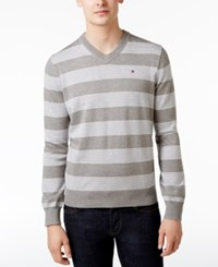 Tommy Hilfiger Men's Carrington Striped V Neck Sweater Frost Grey Bright White