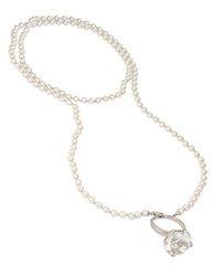 Betsey Johnson Faux Pearl Ring Pendant Long Necklace Silver