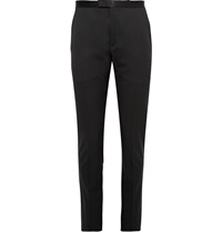 Gucci Black Slim Fit Satin Trimmed Wool Tuxedo Trousers