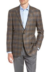 Hart Schaffner Marx Classic Fit Plaid Wool Sport Coat Brown