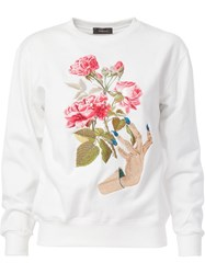 Undercover Embroidered Flowers Sweatshirt White