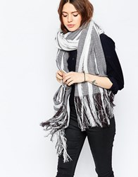 Asos Oversized Lightweight Scarf In Mono Colour Block Stripe Black