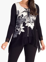 Chesca Garland Floral Zip Front Top Ivory Black