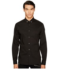 Just Cavalli Studded Collar Button Down Black Men's Clothing