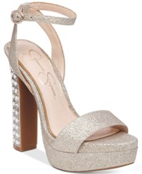 Jessica Simpson Banda Embellished Platform Dress Sandals Women's Shoes Silver Gold Dusty Glitter