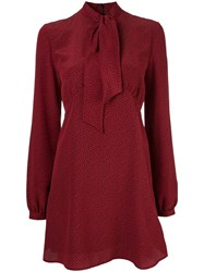 Saint Laurent Pussybow Printed Dress Red