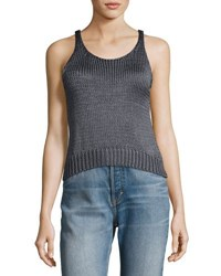Vince Cable Knit Silk Crop Tank Top Brown
