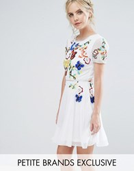 Frock And Frill Petite Premium Embellished Top Mini Prom Skater Dress White