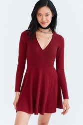 Kimchi And Blue Cozy Plunging Fit Flare Mini Dress Red