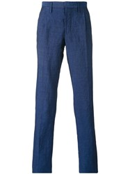 Incotex Straight Leg Trousers Men Linen Flax Wool 52 Blue