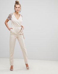 Little Mistress Wrap Belted Jumpsuit With Embroidered Sleeves Cream