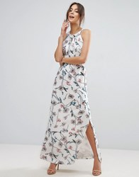 Yumi Uttam Boutique Maxi Dress In Floral Print With Pleated Neckline White