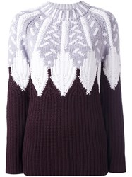 Peter Pilotto Intarsia Jumper Pink And Purple