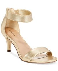 Style And Co. Paycee Two Piece Dress Sandals Women's Shoes Gold