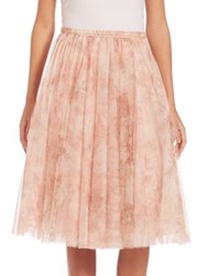 Jenny Yoo Lucy Printed Tulle Midi Skirt Watercolor Blush Vintage Floral