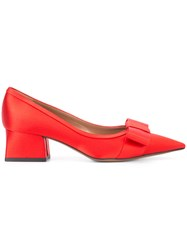Marni Pointed Bow Pumps Red
