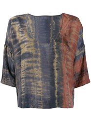 Raquel Allegra Tie Dye Flared Top Grey