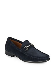 Saks Fifth Avenue Donato Suede Horsebit Loafers Navy Suede