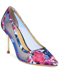 Thalia Sodi Natalia Mesh Pointed Toe Floral Pumps Only At Macy's Women's Shoes Berry Ice Floral