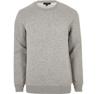 River Island Mensbig And Tall Grey Marl Crew Neck Sweatshirt
